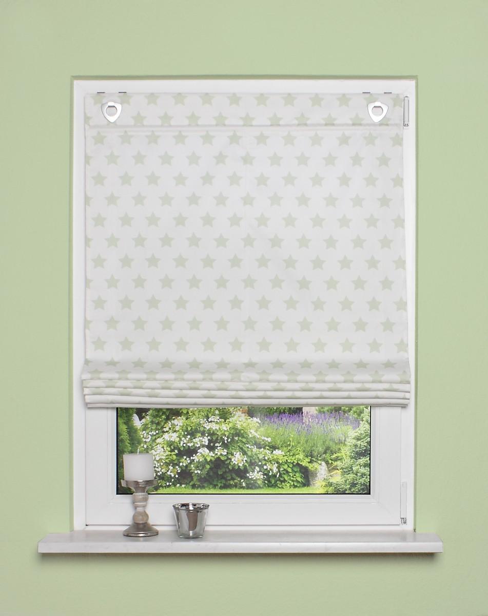 34279-Raffrollo-mit-Fensterhaken-Sterne-hellgruen-1