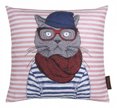 36576-Kissen-HIPSTER-Sailor-Cat-blau-rot-40x40cm